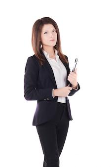 Donna di affari che lavora con la lavagna per appunti - fondo dello studio