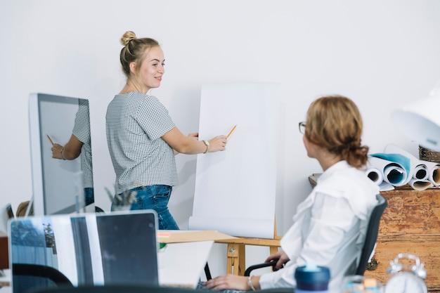 Donna di affari che spiega nuovo business plan al suo collega su flipchart