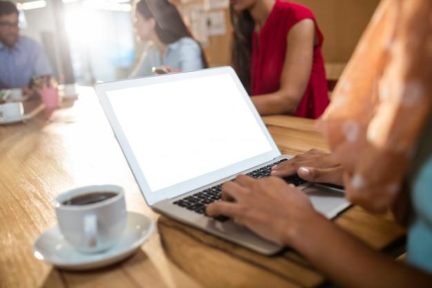 Donna di affari dei pantaloni a vita bassa che per mezzo di un computer portatile