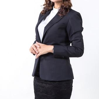 Donna di affari isolata su priorità bassa bianca. concetto per il business