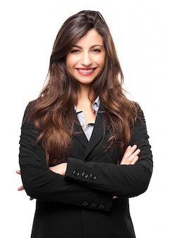 Donna di affari sorridente isolata su bianco