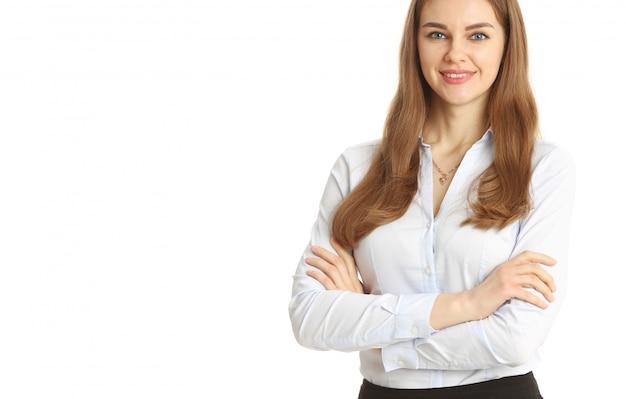 Donna di affari sorridente su bianco