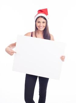 Donna di segno in bianco di natale
