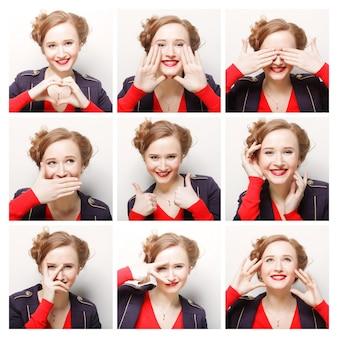 Donna diverse espressioni facciali