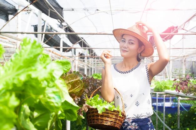 Donna in buona salute con la merce nel carrello delle verdure di insalata nell'azienda agricola di coltura idroponica
