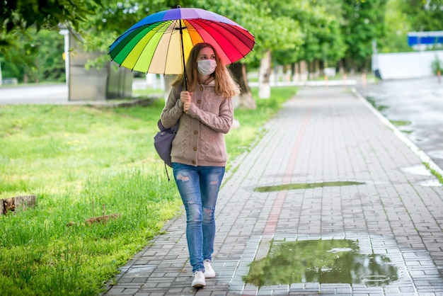 Donna in una maschera protettiva che cammina sotto un ombrello