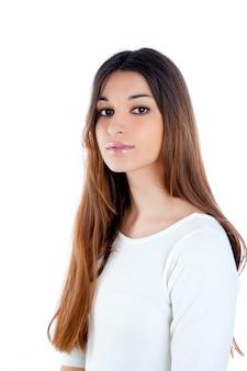 Donna indiana bruna asiatica con i capelli lunghi