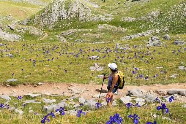 Donna matura che fa un'escursione nelle montagne di pirenei
