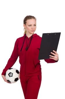 Donna nel concetto di sport isolata su bianco