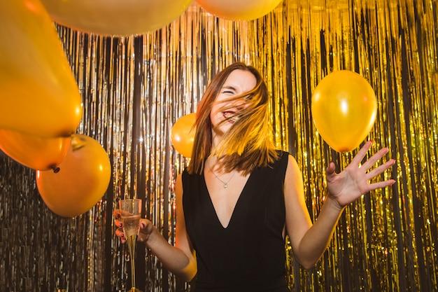 Donna, palloncini, celebrazioni, nuovo, anno