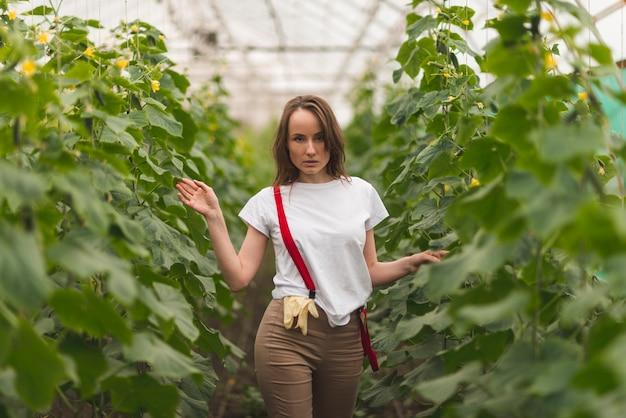 Donna prendersi cura delle piante in una serra