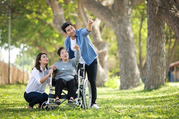Donna senior asiatica che si siede sulla sedia a rotelle con il fronte felice di sorriso della famiglia sul parco verde