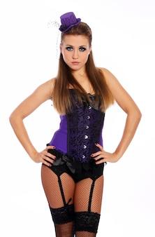 Donna sexy in corsetto e calze