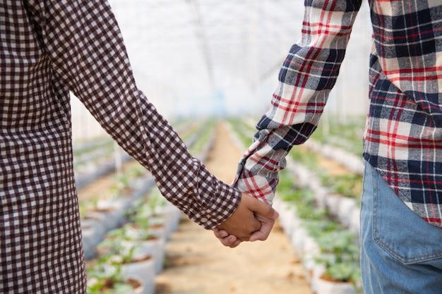 Donne che si tengono per mano in una piantagione di meloni