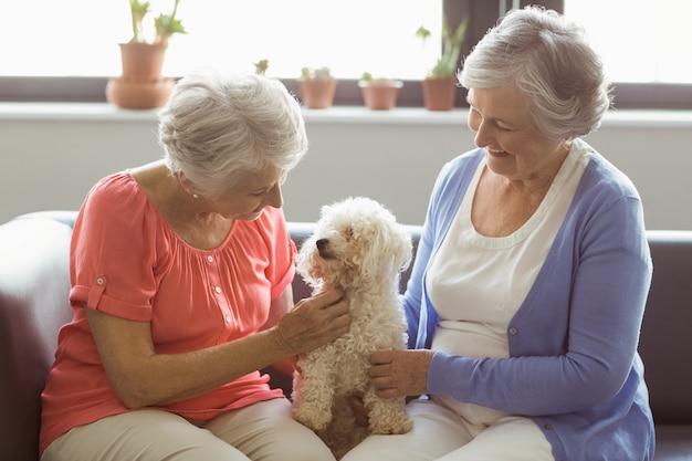 Donne senior che accarezzano un cane
