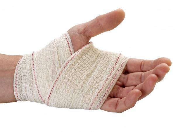 Dopo essersi vestito per le ferite sulla mano, tracciato di ritaglio