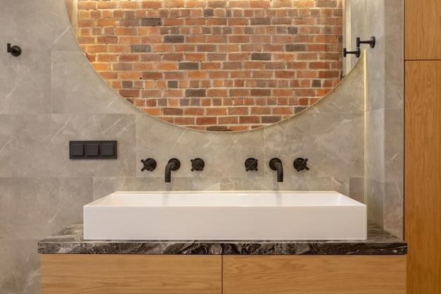 Doppio lavabo moderno in ceramica da appoggio