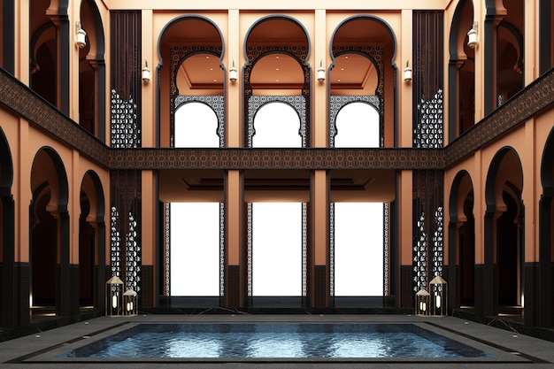 Doppio spazio marocchino del mainhall con lo stagno in mezzo alla rappresentazione della casa 3d