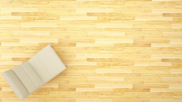Dormeuse sulla vista superiore del pavimento di legno per materiale illustrativo - rappresentazione 3d