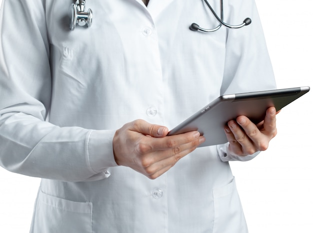 Dottore, usando, tavoletta digitale