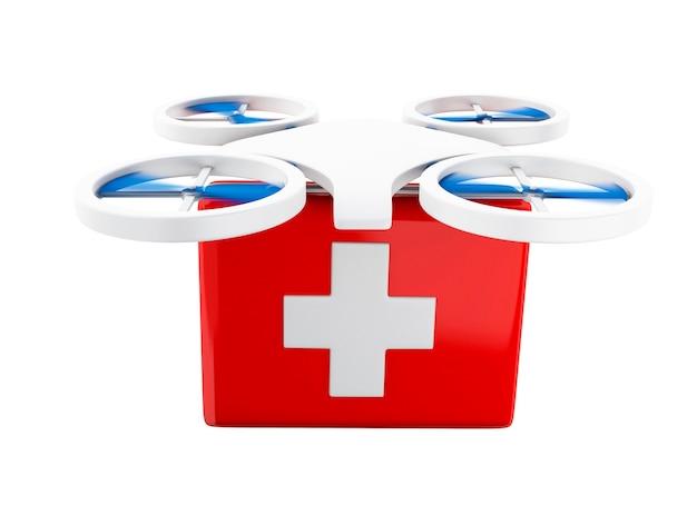 Drone 3d che trasporta un kit di primo soccorso.