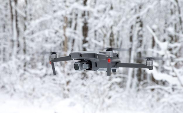 Drone nella foresta invernale