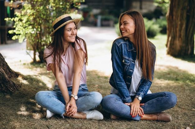 Due amici di ragazze che si siedono nel parco