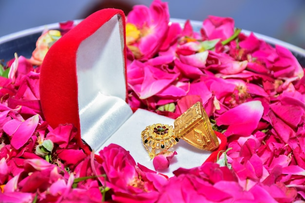 Due anelli di fidanzamento con diamanti uno accanto all'altro con petali di rosa