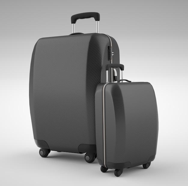 Due borse da viaggio nere in fibra di carbonio isolate su luminoso. rendering 3d