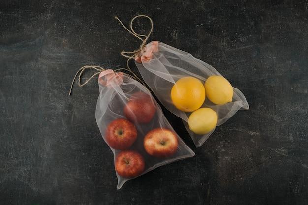 Due borse riutilizzabili in tulle di organza a rete, confezione eco-compatibile