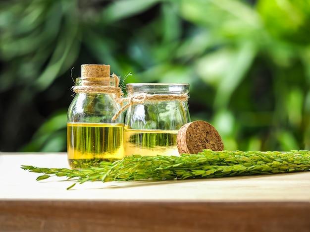 Due bottiglie di vetro di crusca di riso olio al sole verde