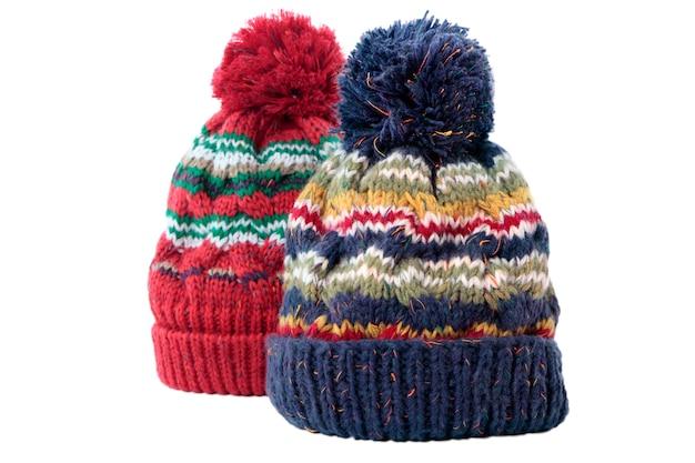 Due cappelli bobble inverno o cappelli maglia