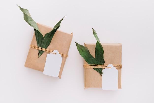 Due contenitori di regalo avvolti marroni legati con l'etichetta e foglie su fondo bianco