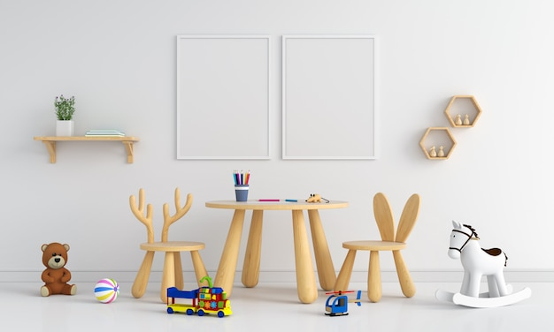 Due cornice in bianco nella stanza dei bambini