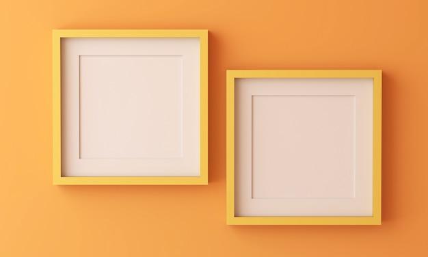 Due cornici gialle per inserire testo o immagine all'interno su colore arancione.