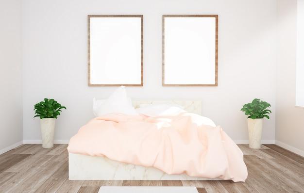 Due cornici su un modello di camera da letto
