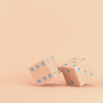 Due dadi su pastello rosa con spazio di copia. rendering 3d