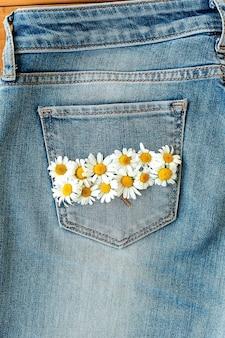 Due fiori di camomilla nella tasca dei jeans. margherita su sfondo blue jeans. biglietto di auguri estivo