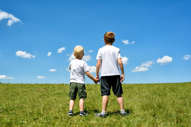 Due fratelli piccoli stanno tenendosi per mano su un campo verde contro un cielo blu e le nuvole. fratellanza e amicizia