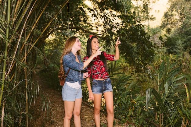 Due giovani donne sorridenti che indicano verso l'alto nella foresta