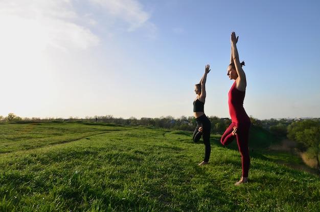 Due giovani ragazze bionde in abiti sportivi praticano yoga