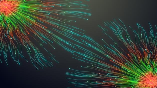 Due linee di particelle colorate, linee luminose e particelle di luce su animazioni scure