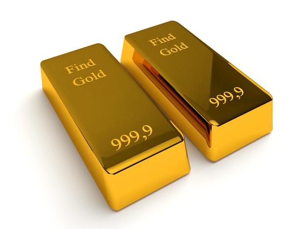 Due lingotti d'oro isolati