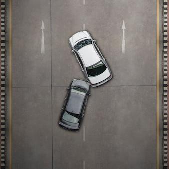 Due macchine in un incidente
