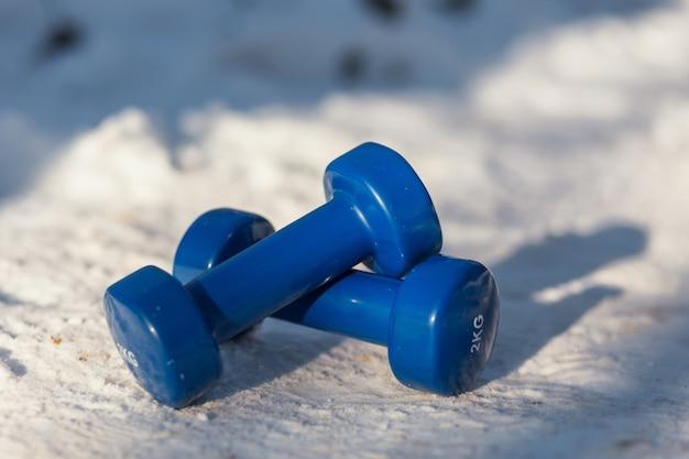 Due manubri si trovano sulla neve