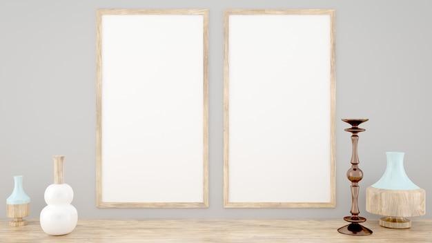 Due mockup frame, stile scandinavo, rendering 3d