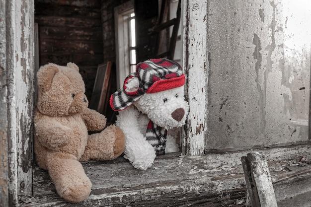 Due orsacchiotti guardano dalla finestra rotta di una vecchia casa. concetto di amicizia e relazioni.