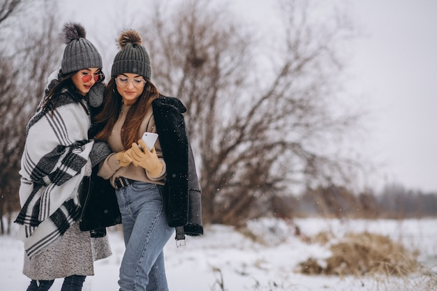 Due ragazze che camminano insieme in un parco di inverno e facendo selfie