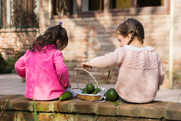 Due ragazze che si siedono con avocado verdi nel cestino