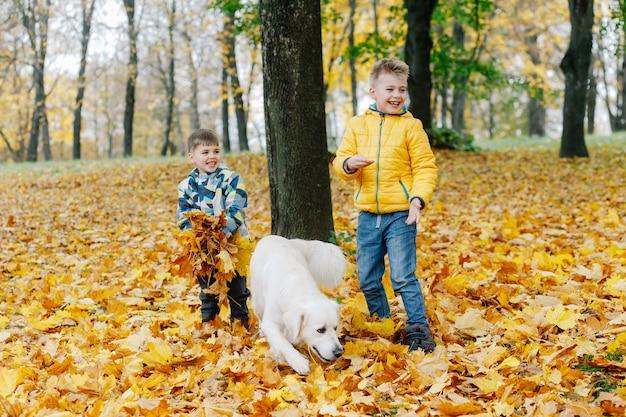 Due ragazzi divertirsi giocando con un cane in un parco in autunno